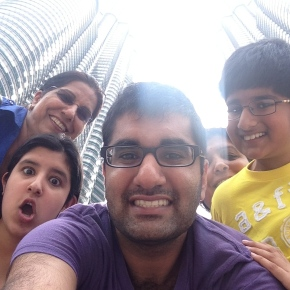 The family just taking selfies outside of the KL Petrona Towers. NBD.