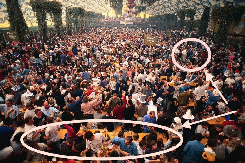 I was the little circle and the bartender was at the big oval. This person saw ME over ALLLLLL of those other people. And I felt like a sardine in that bar that night!